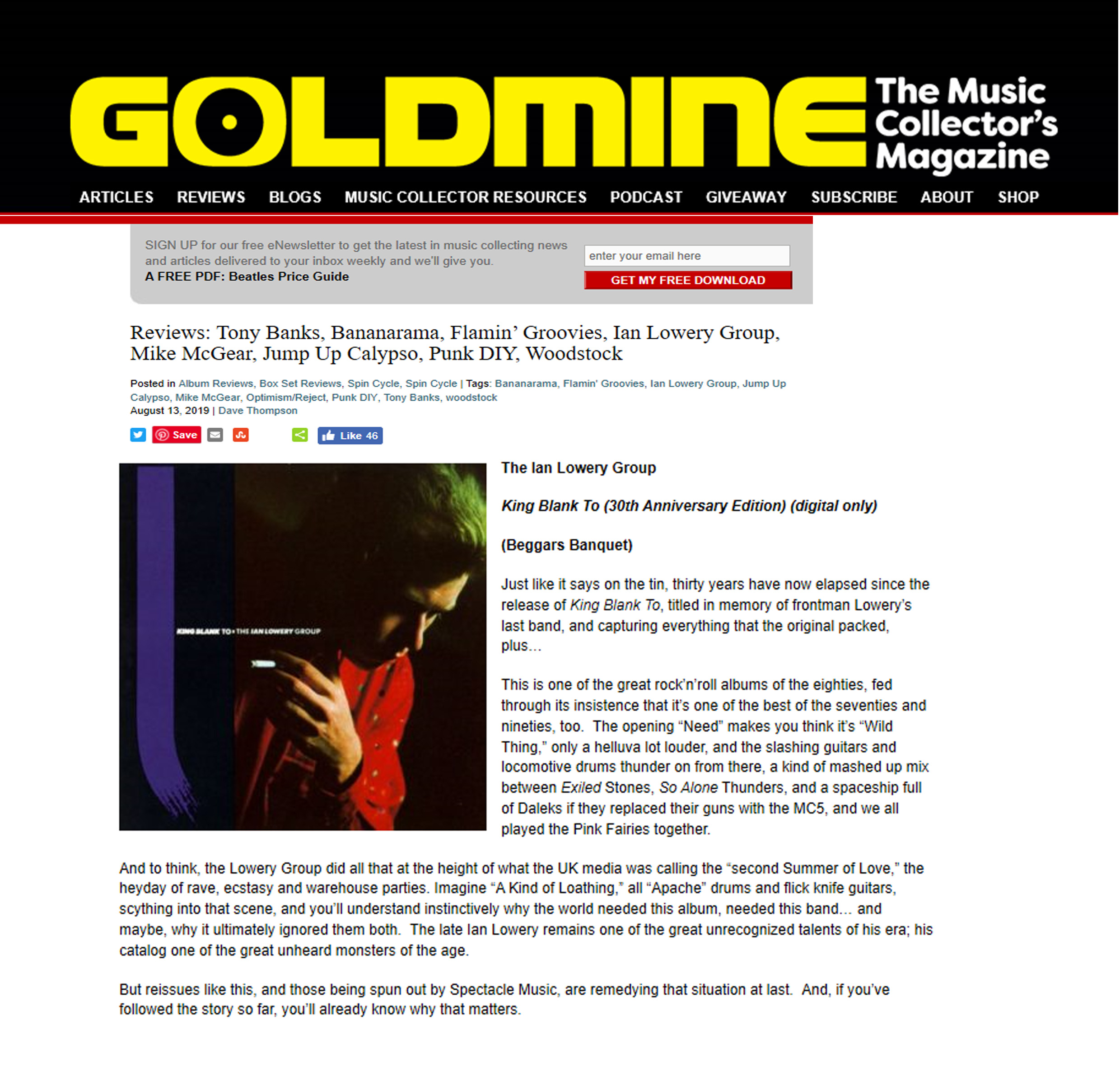 Goldmine Magazine,Mar,2019